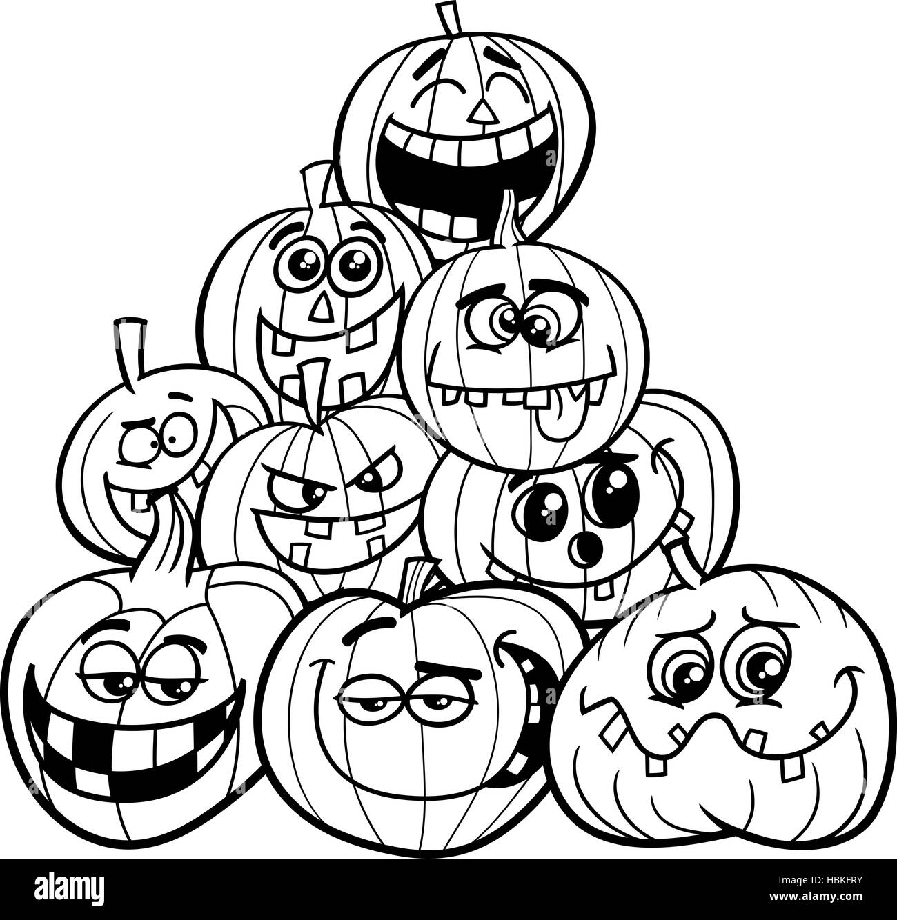 Halloween Pumpkins Coloring Page Stock Photo 127663311 Alamy