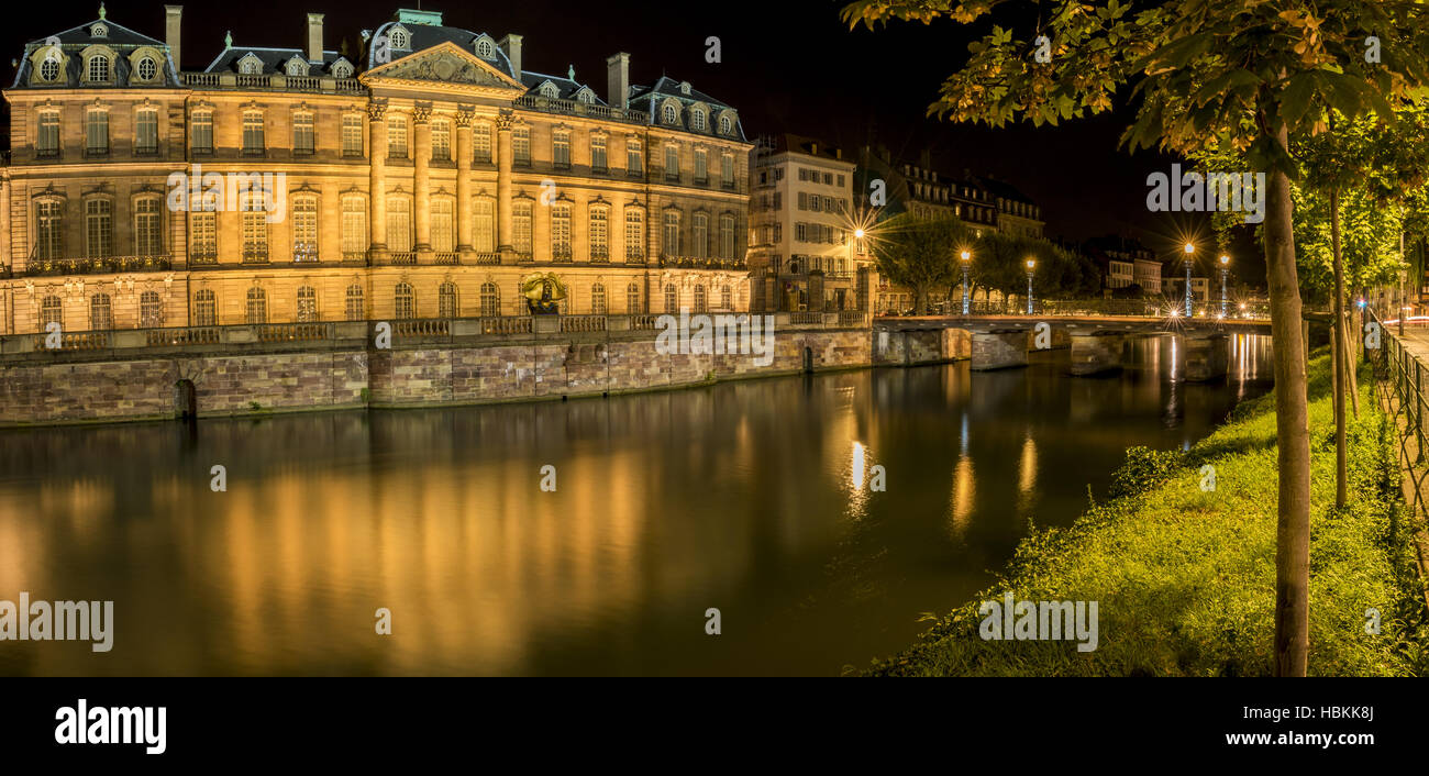 City night panorama in Strasbourg France - Stock Image