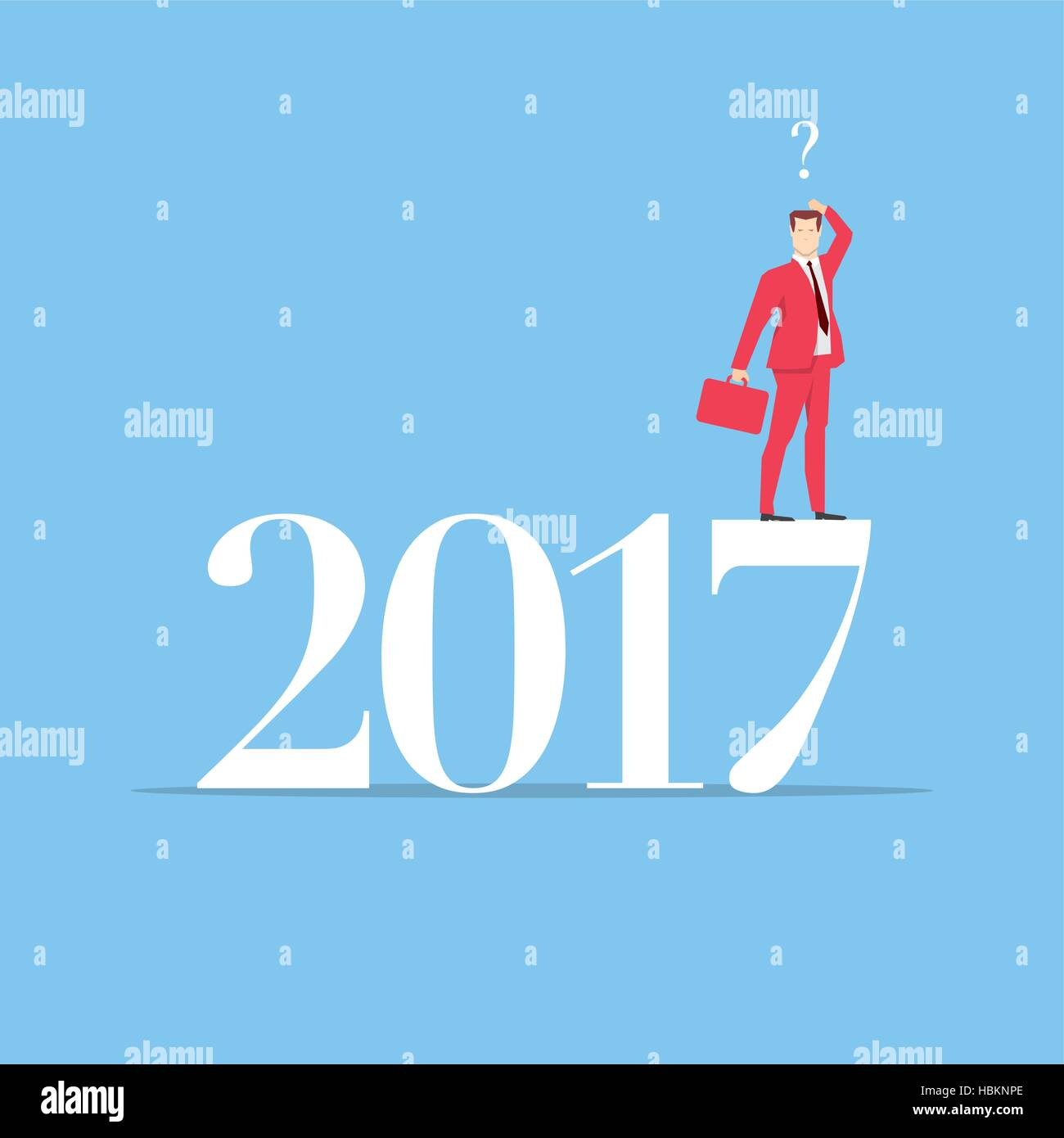 Businessman in red suit. Flat style business new year 2017 concept vector illustration. - Stock Vector