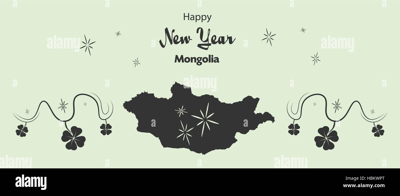Happy New Year illustration theme with map of Mongolia - Stock Vector