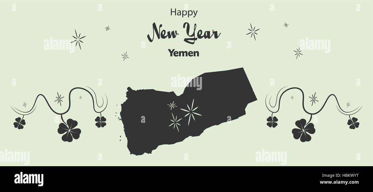 Happy New Year illustration theme with map of Yemen Stock Vector