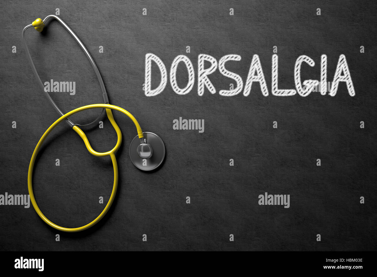 Chalkboard with Dorsalgia Concept. 3D Illustration. - Stock Image