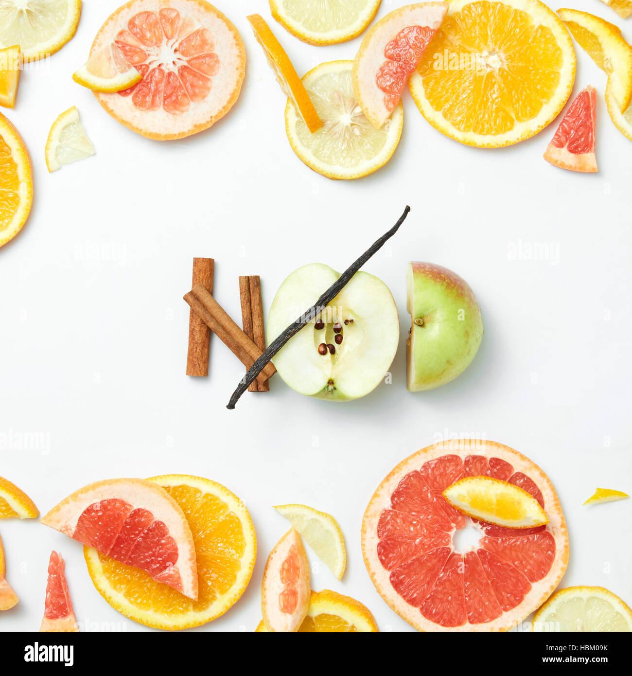 Sliced citrus fruits background closeup Stock Photo