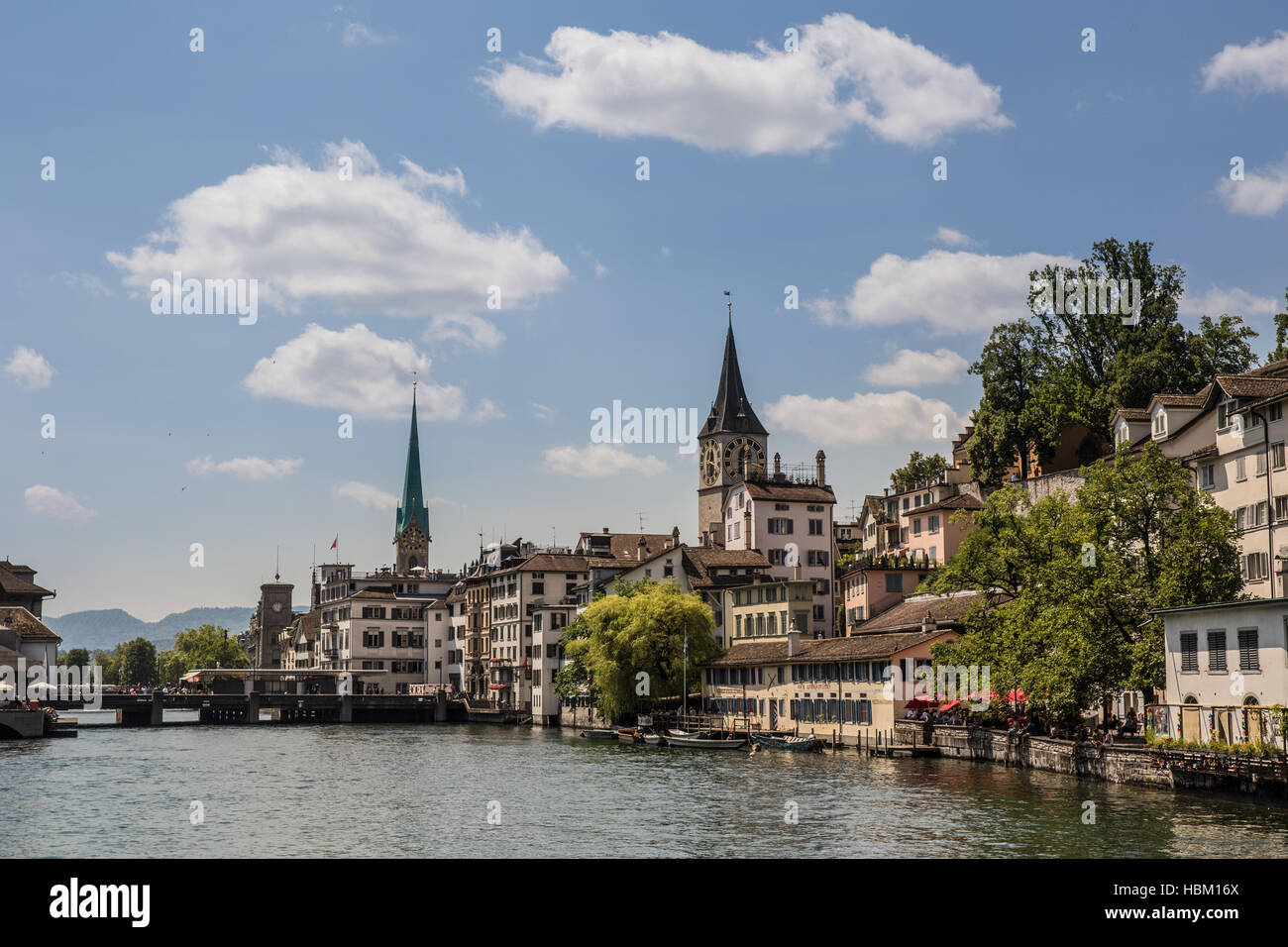 Limmat river and famous Zurich churches - Stock Image