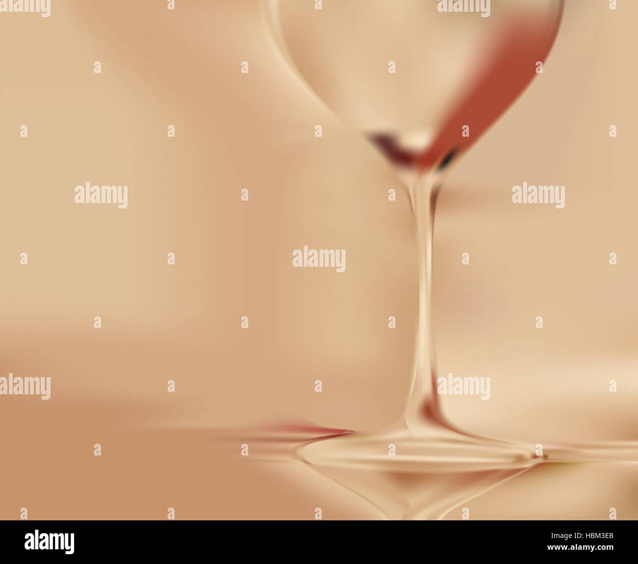 On gold blurred background stands tall wineglass - Stock Vector