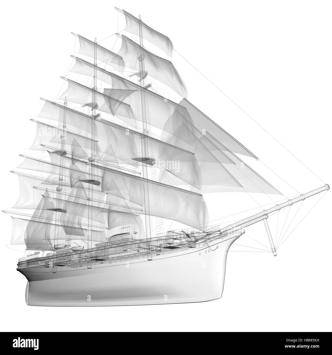 isolated transparent sail ship Stock Photo
