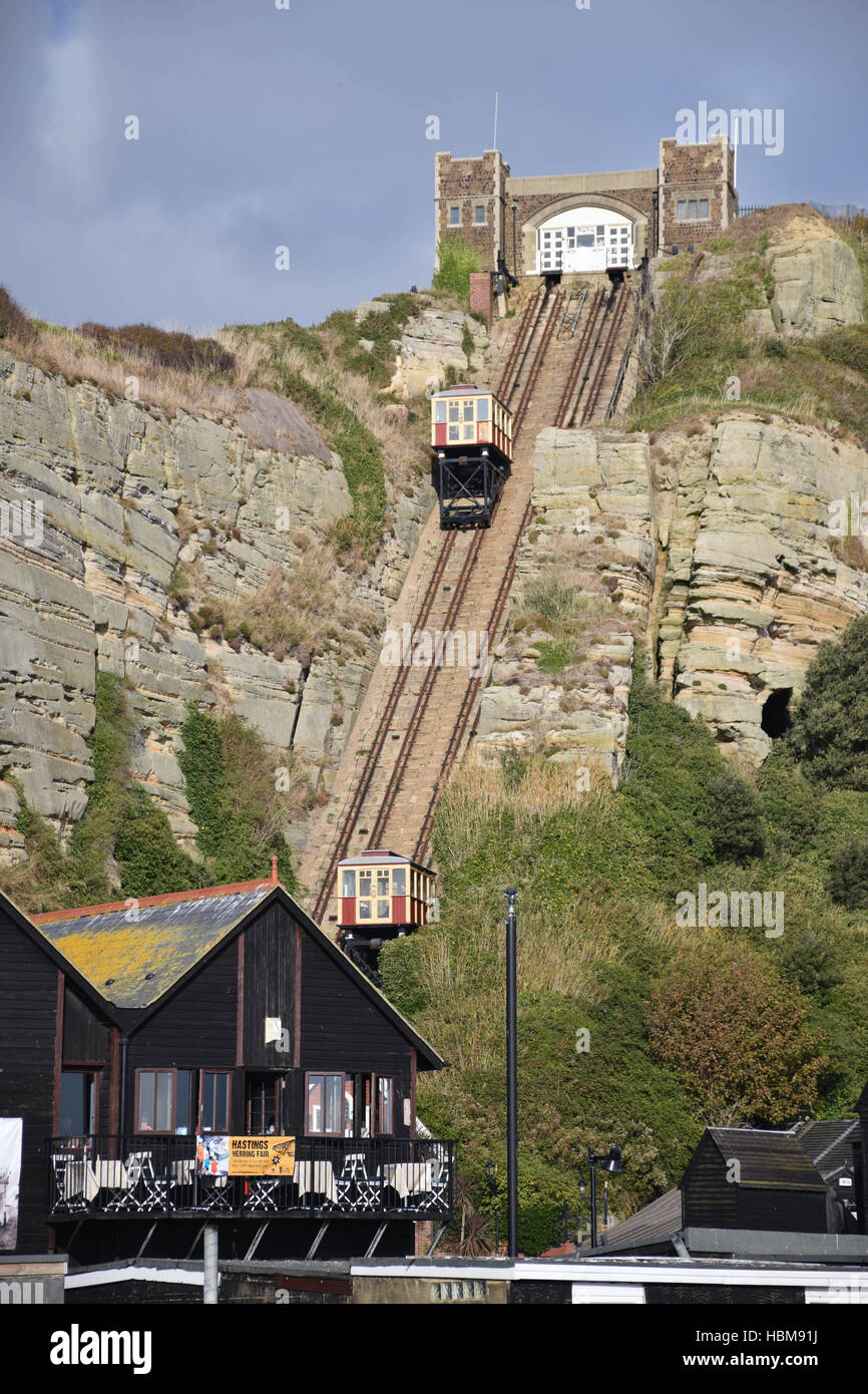 East Hill Cliff Railway, Hastings, East Sussex UK Oct 2016 - Stock Image