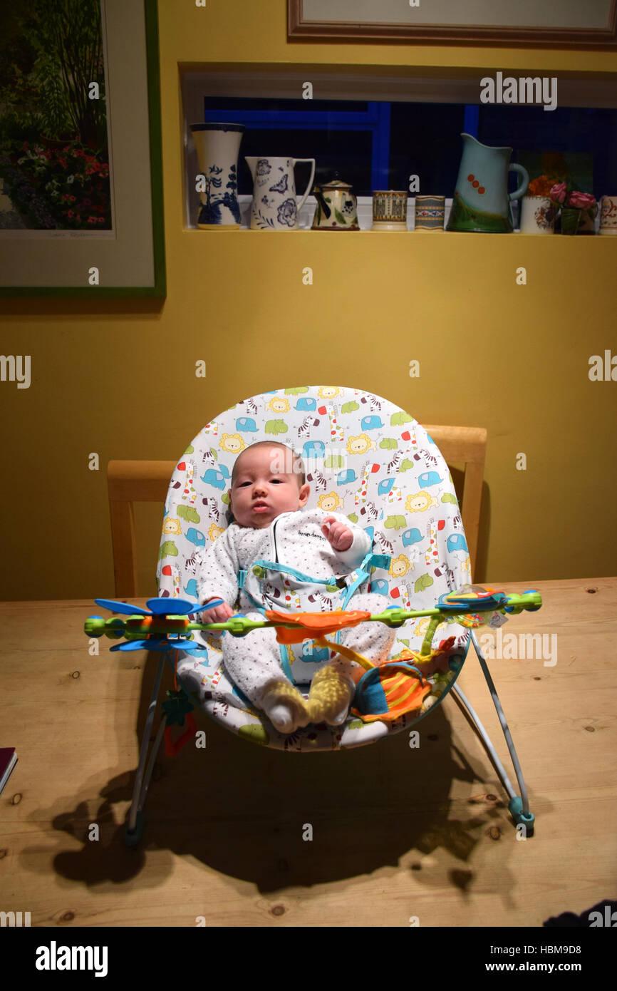 8 week old baby in bouncy chair UK - Stock Image