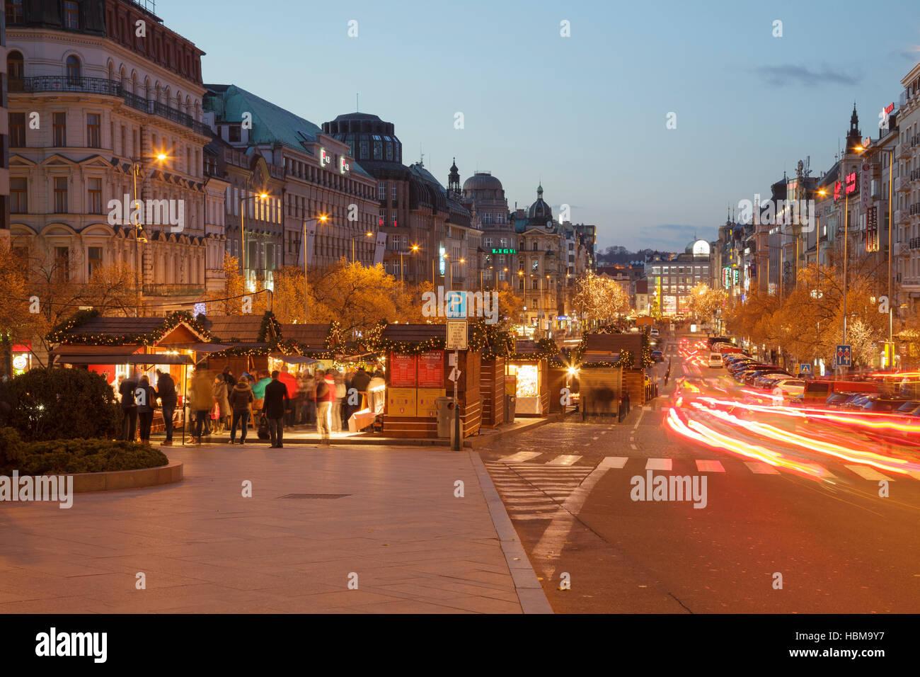 Wenceslas Square at dusk, Prague, Czech Republic - Stock Image