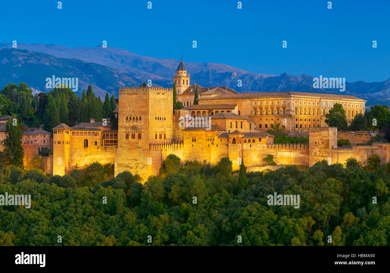 Alhambra Palace, Granada, Andalucia, Spain - Stock Image