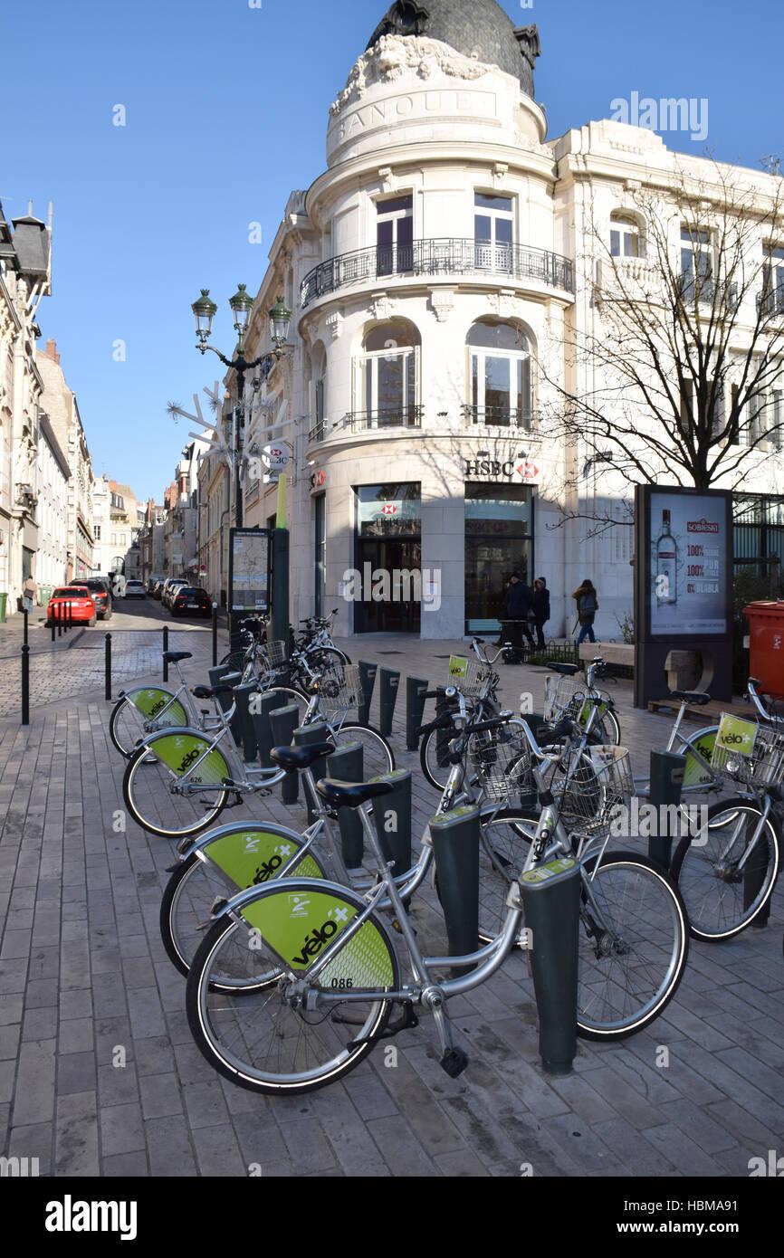 Public bike hire, Orleans, France - Stock Image
