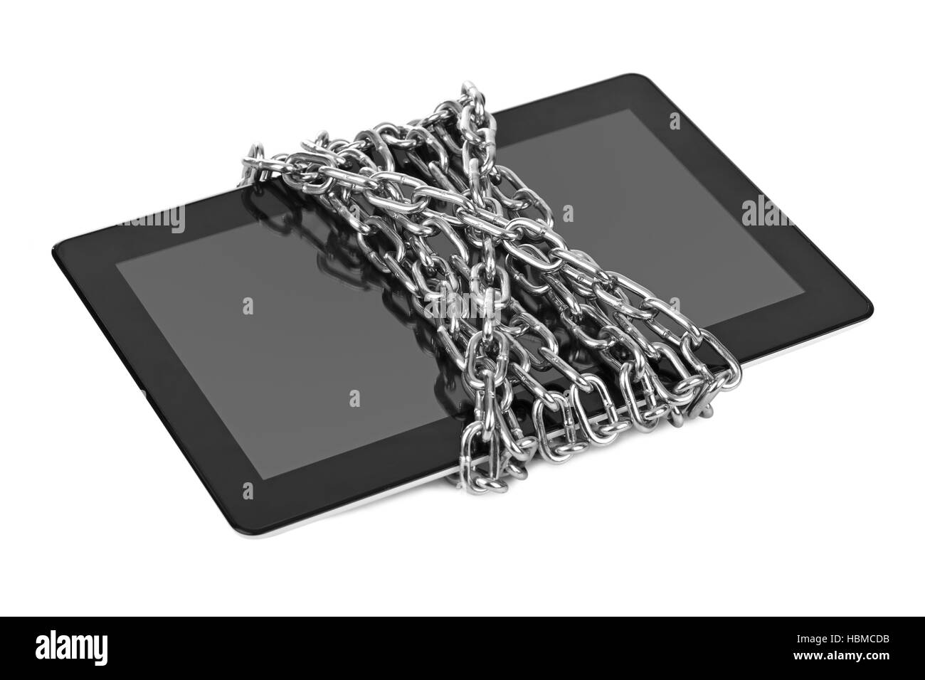 Touchpad pc and chain - Stock Image