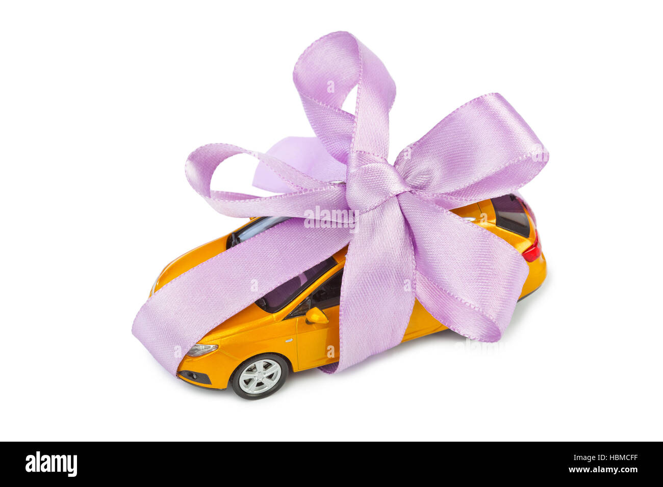 Car with bow as gift Stock Photo