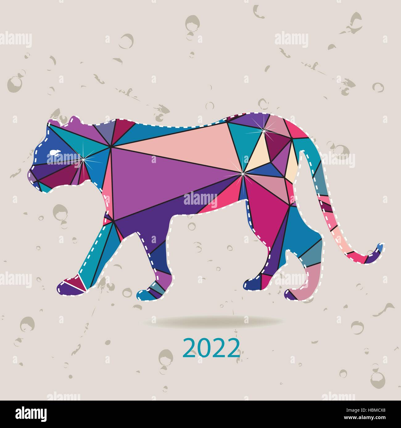 The 2022 new year card with Tiger made of triangles - Stock Image