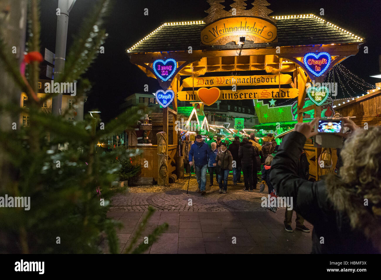 The Christmas market in Mönchengladbach, Germany - Stock Image