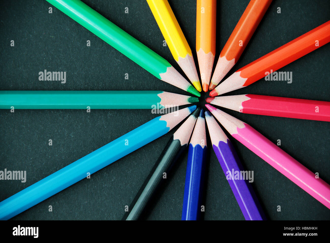Pencils of different colors close up - Stock Image