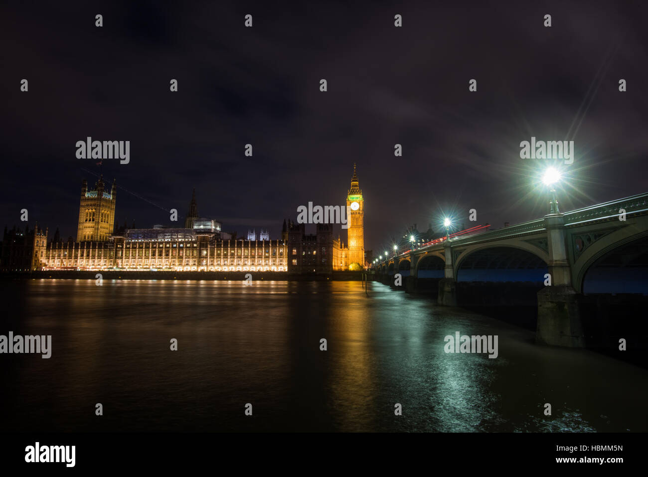 Big Ben and Houses of Parliament at Night, London, United kingdom - Stock Image