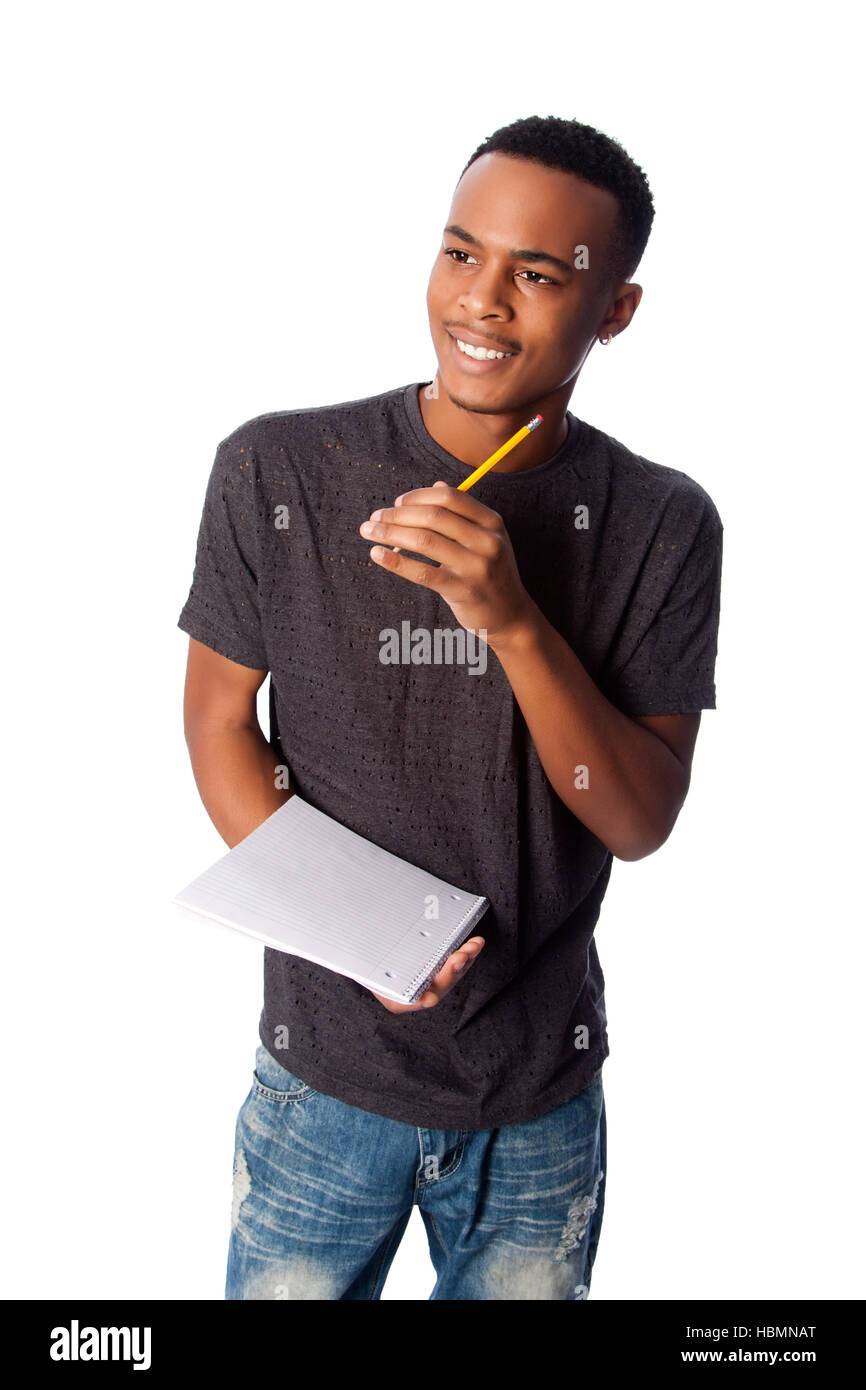 Happy student with notepad - Stock Image