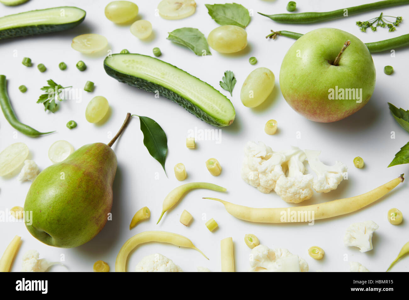 fresh green vegetables and fruits - Stock Image