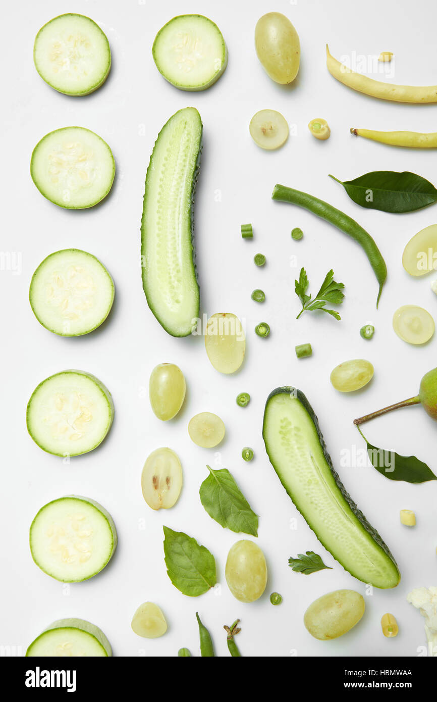 different green vegetables - Stock Image