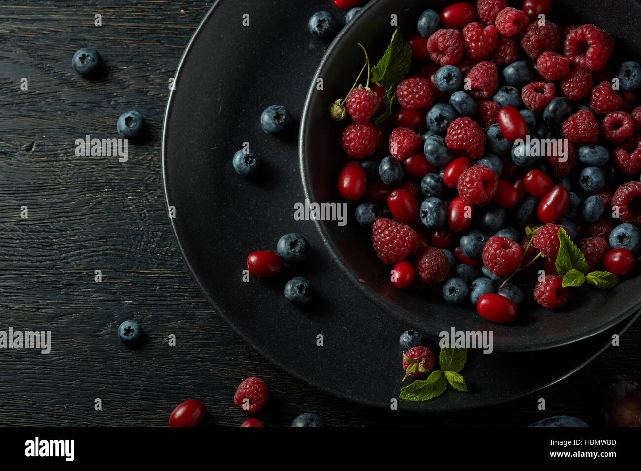 plate with healthy berries Stock Photo