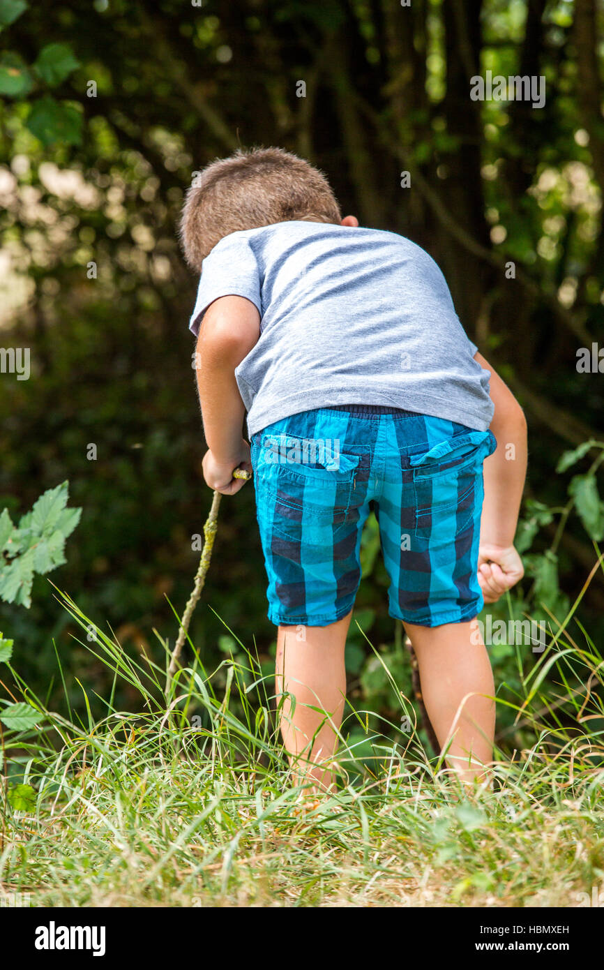 child exploring nature bordering forest - Stock Image
