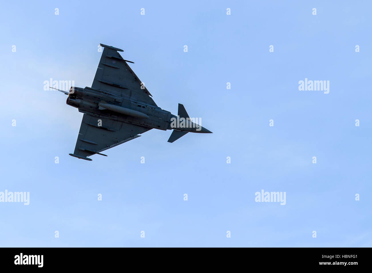 Eurofighter Typhoon Multirole fighter performing extreme manoeuvres at Southport airshow Stock Photo