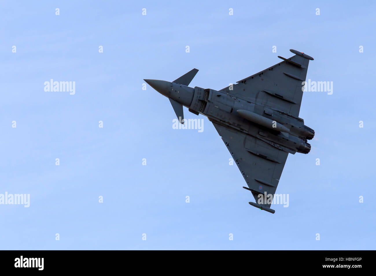 Eurofighter Typhoon Multirole fighter performing extreme manoeuvres at Southport airshow - Stock Image