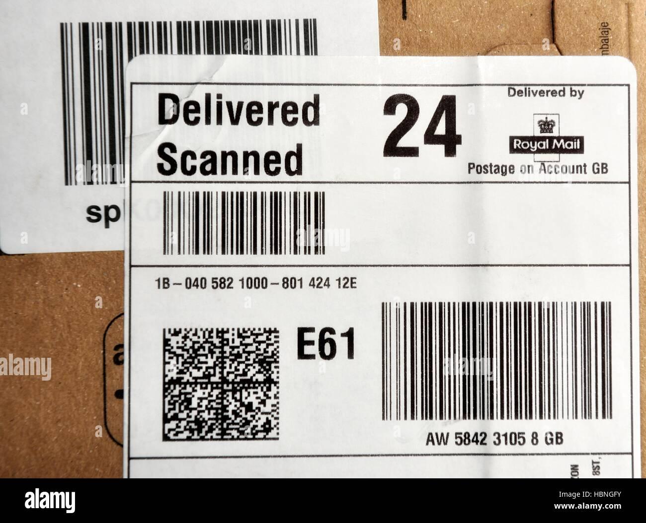 A Royal Mail delivered scanned parcel label - Stock Image