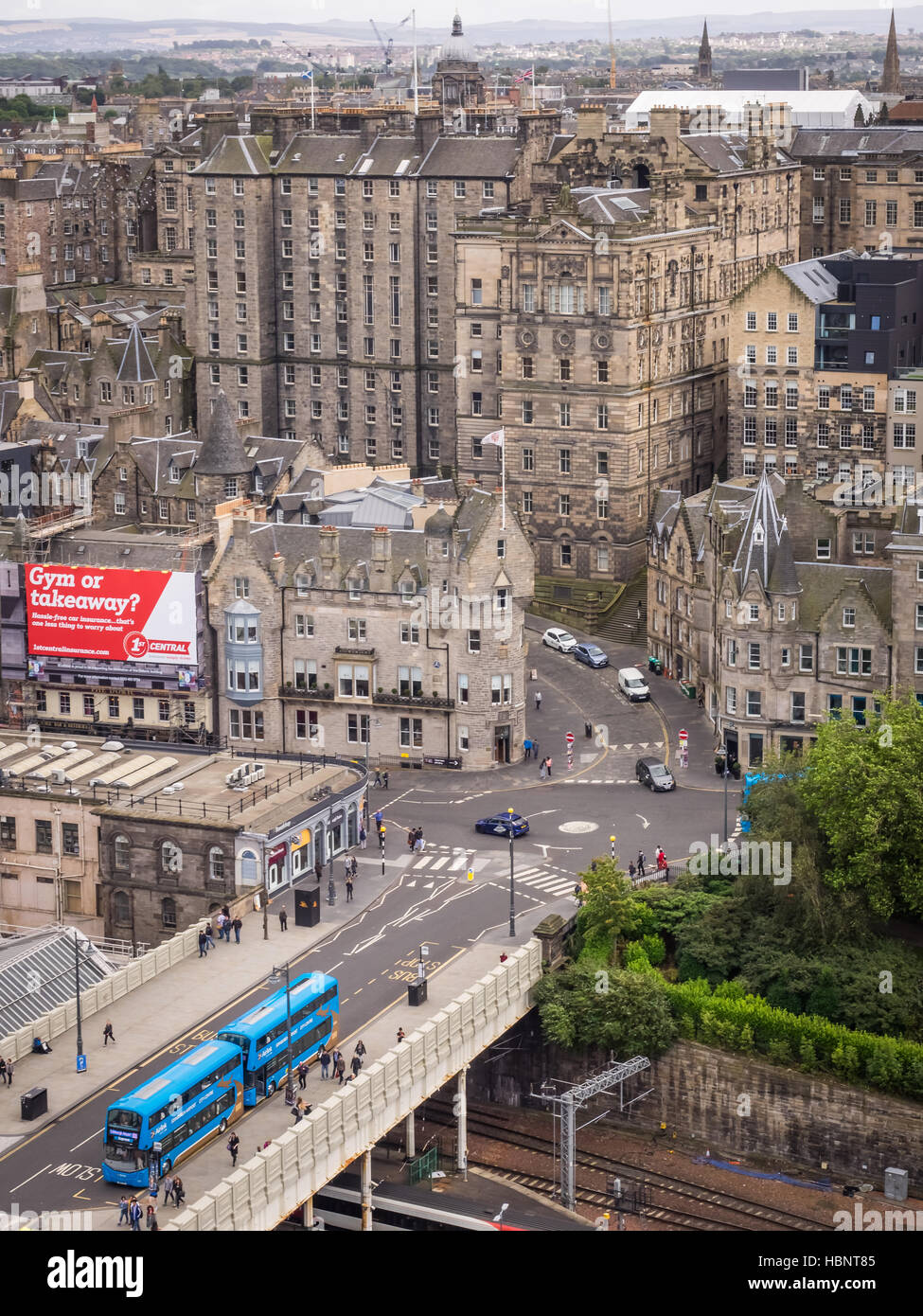 Aerial view of streets in Edinburgh - Stock Image
