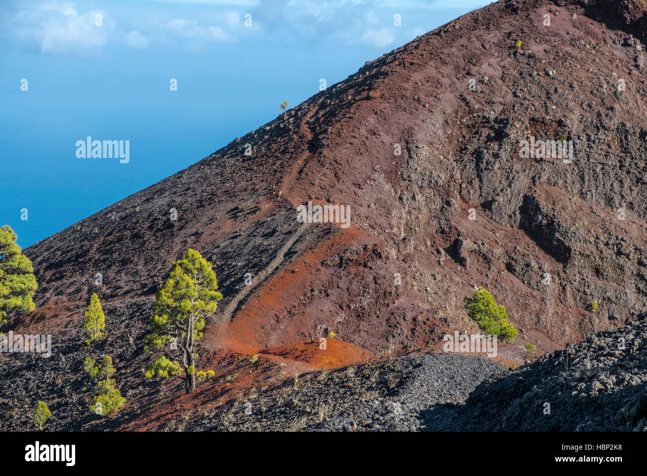 Shot of the famous hiking path 'Ruta de los vulcanos' , taken in the south of la Palma nearby Los Canarios. - Stock Image