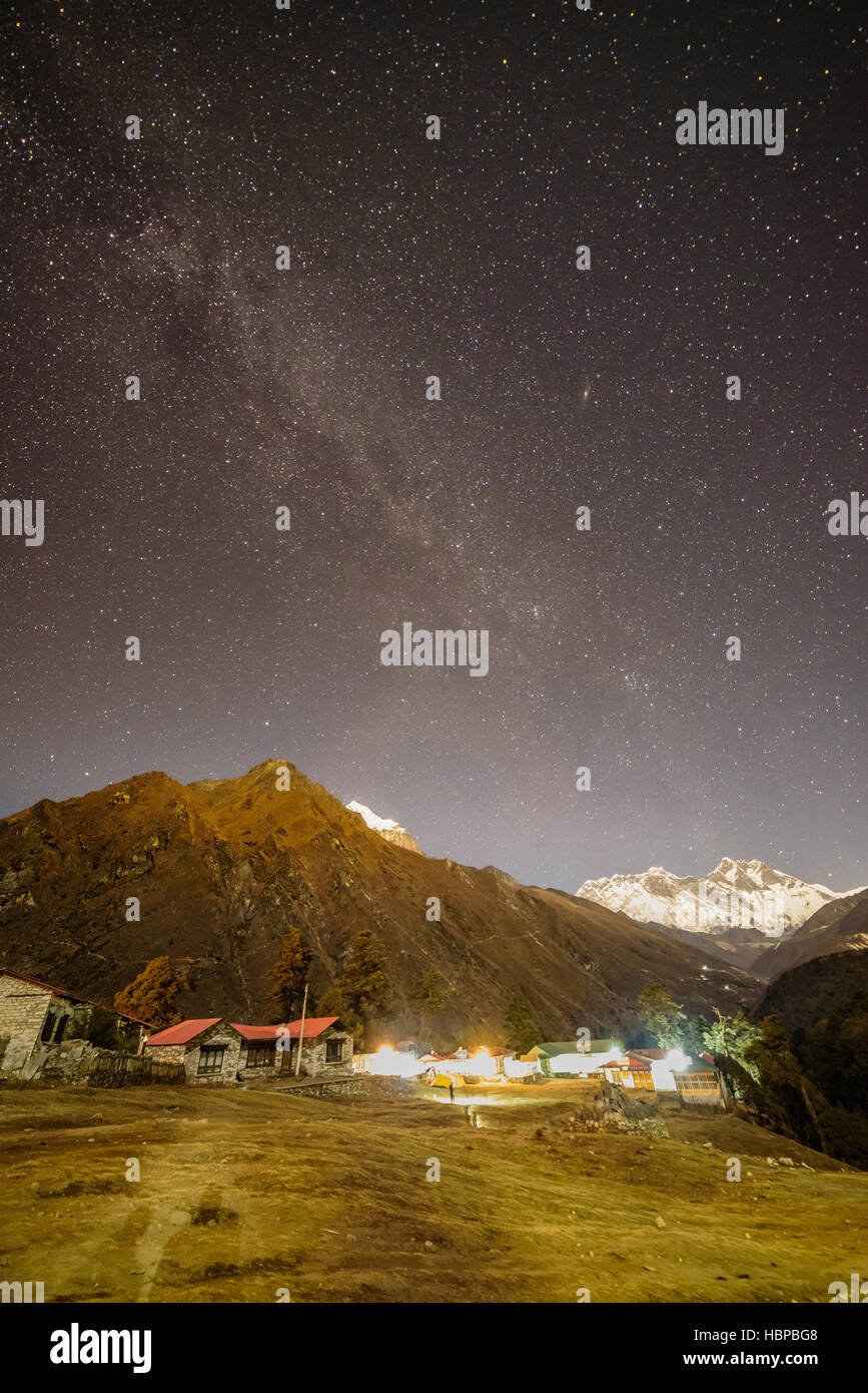 Milky Way arching over Mount Everest in the Himalayas, Nepal - Stock Image