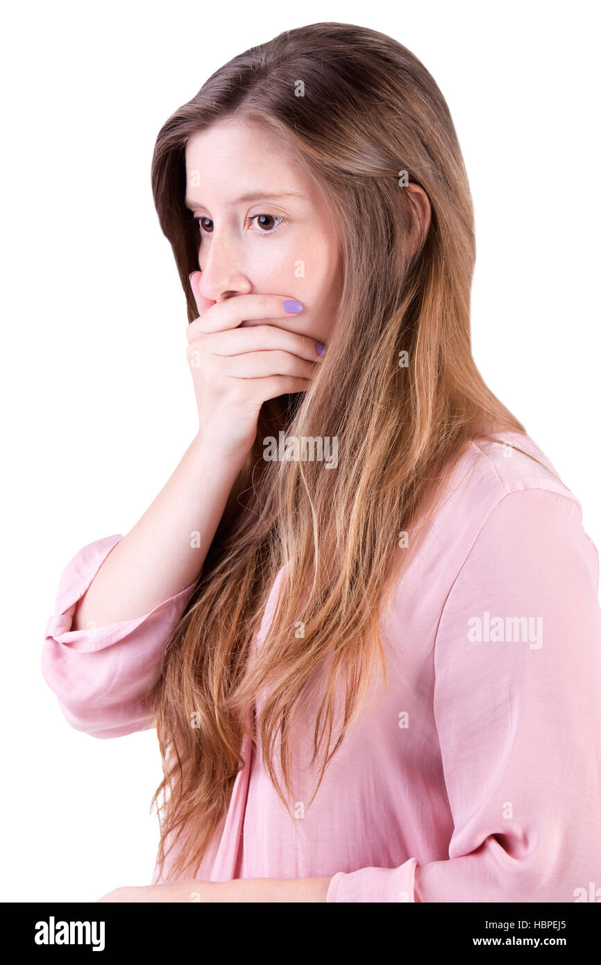 Concerned Woman Covering Mouth - Stock Image
