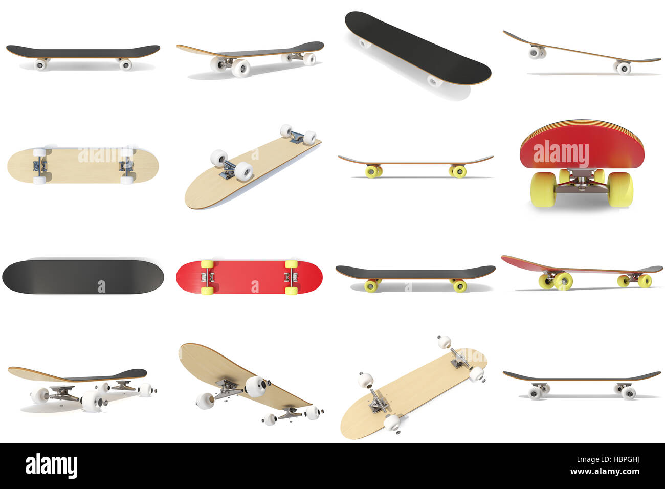 3d rendering collection group set of skateboards isolated on white