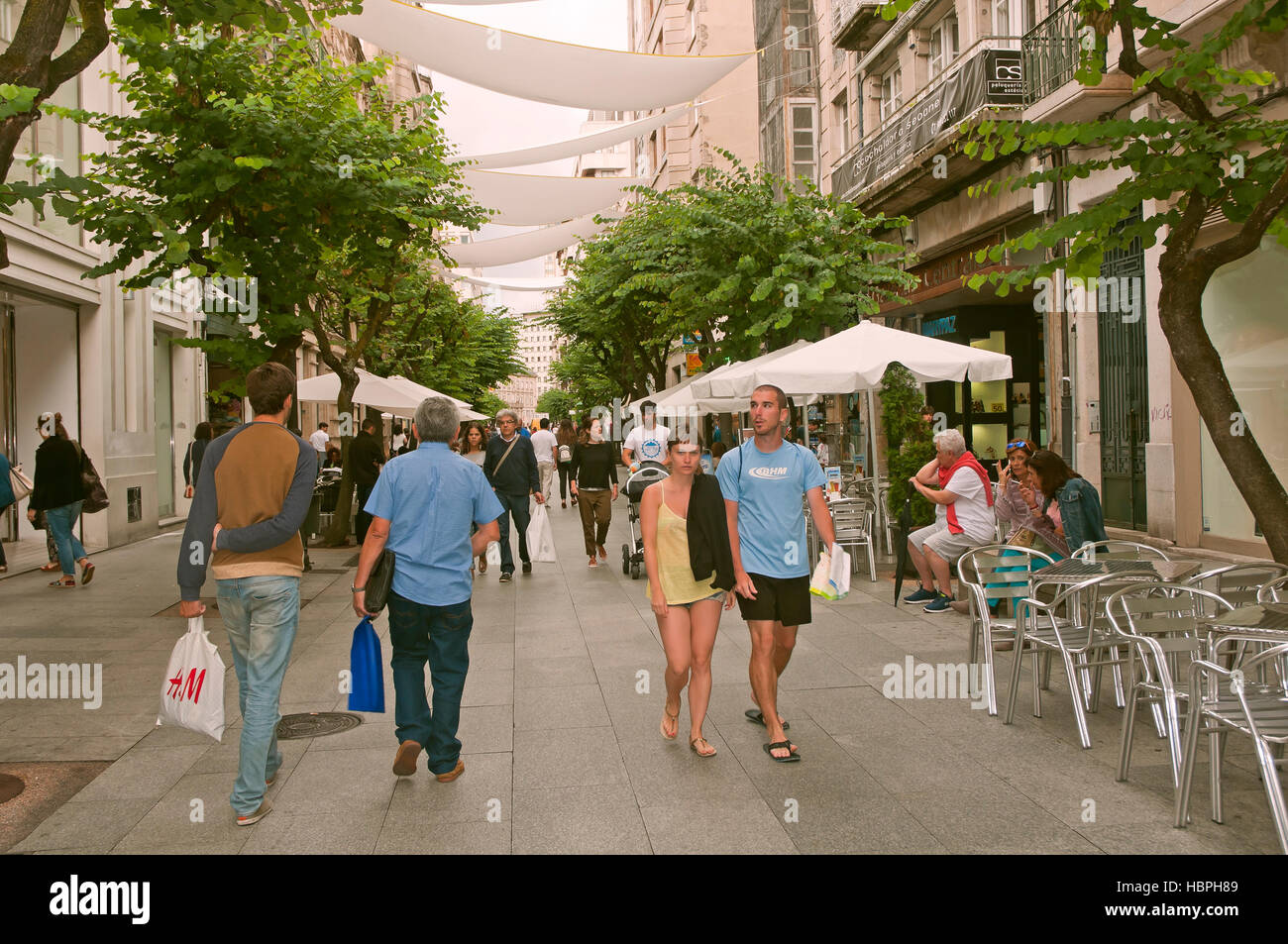 Pedestrian street, Orense, Region of Galicia, Spain, Europe - Stock Image