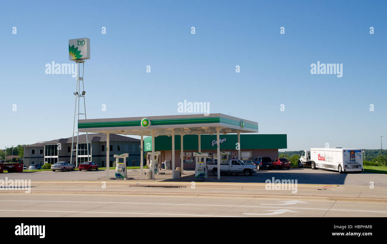 BP gas station with Coors delivery truck on Holiday Road, Coralville, Johnson County, Iowa, USA. Stock Photo