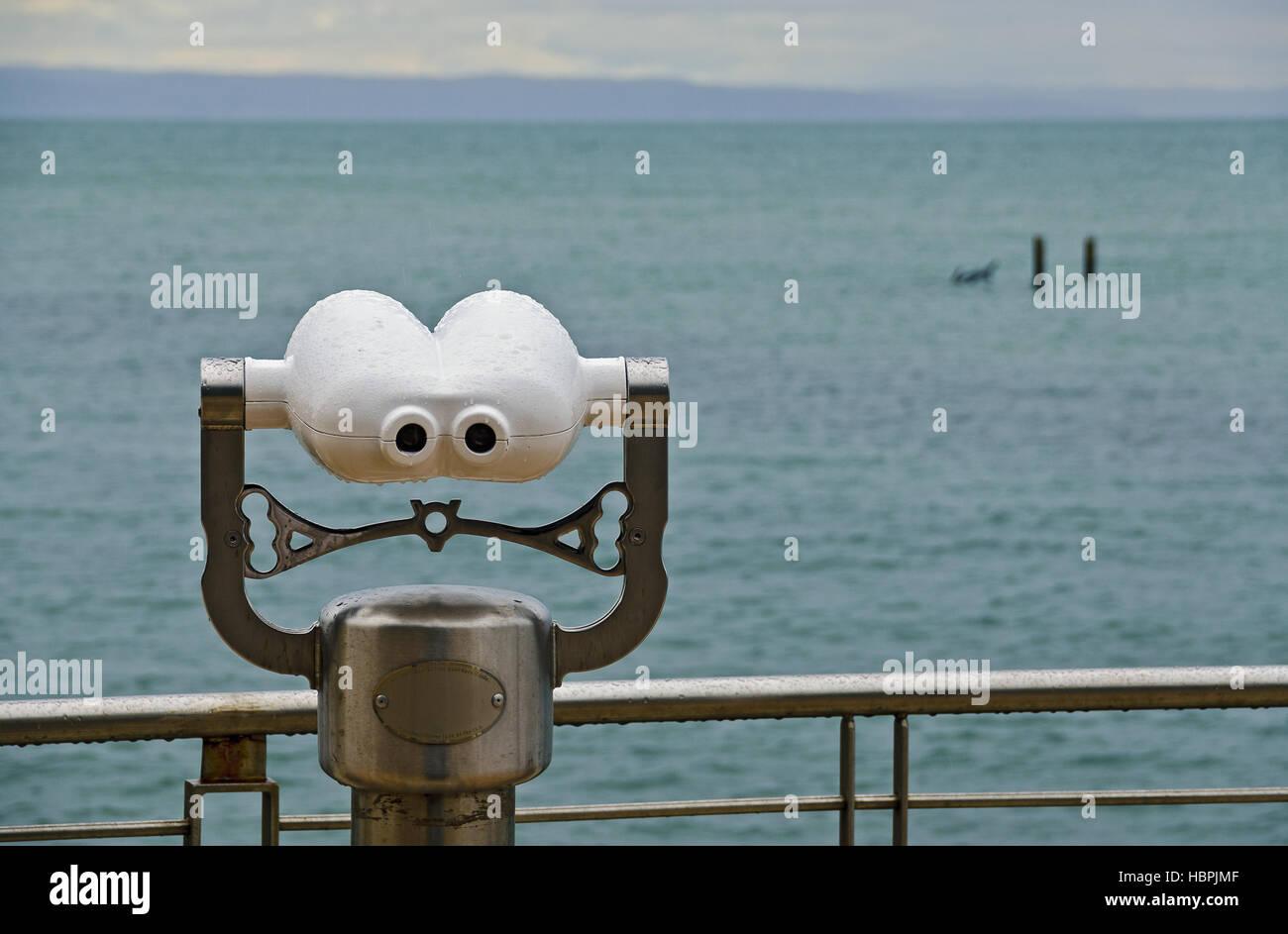 coin-operated binocular - Stock Image