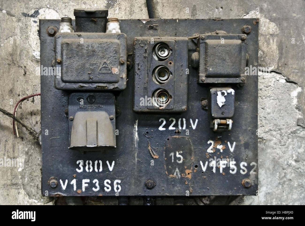 old electric fuse panel - Stock Image