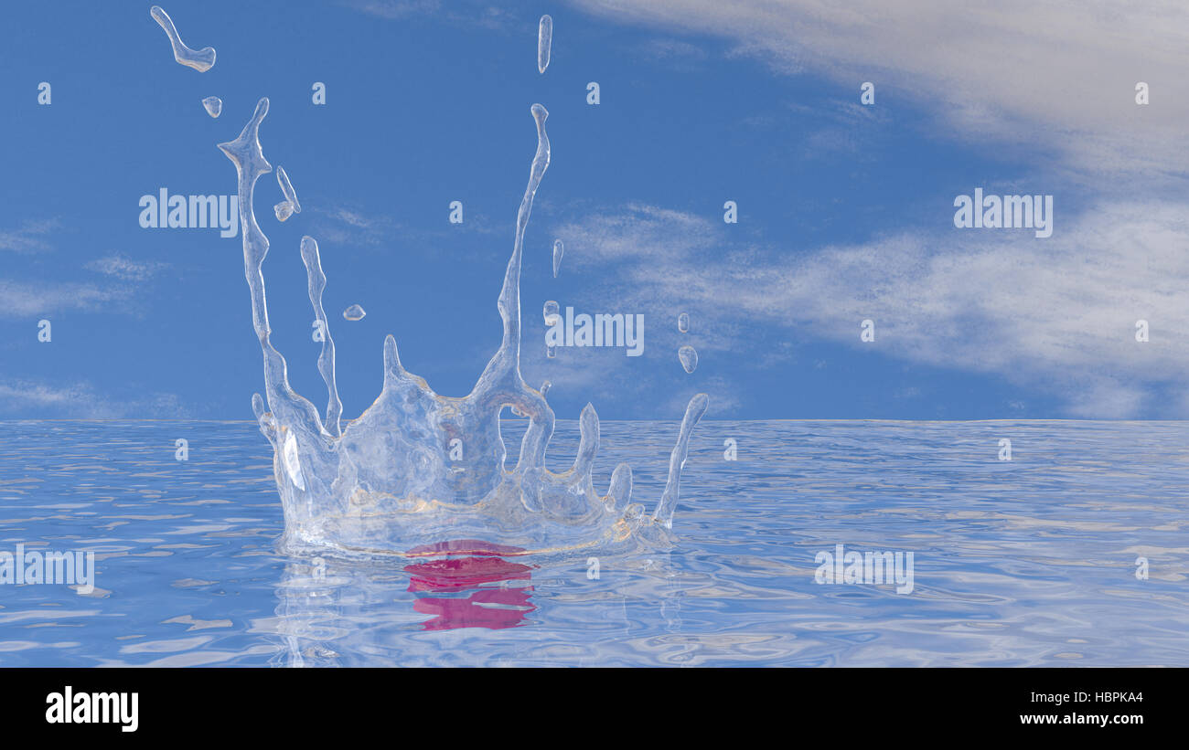 Impact on water surface - Stock Image