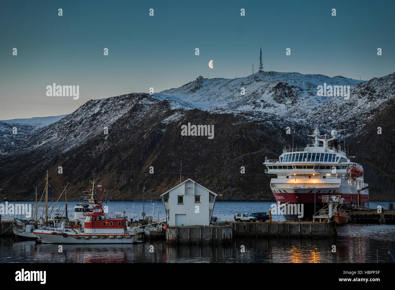 Hurtigruten MS Polarlys docked at Honningsvag, Northern Norway. - Stock Image
