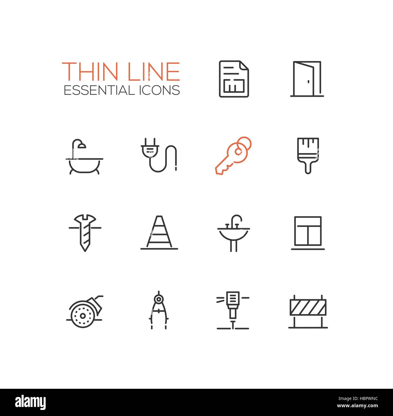 Home, Road Repair - Thin Line Icons Set - Stock Vector