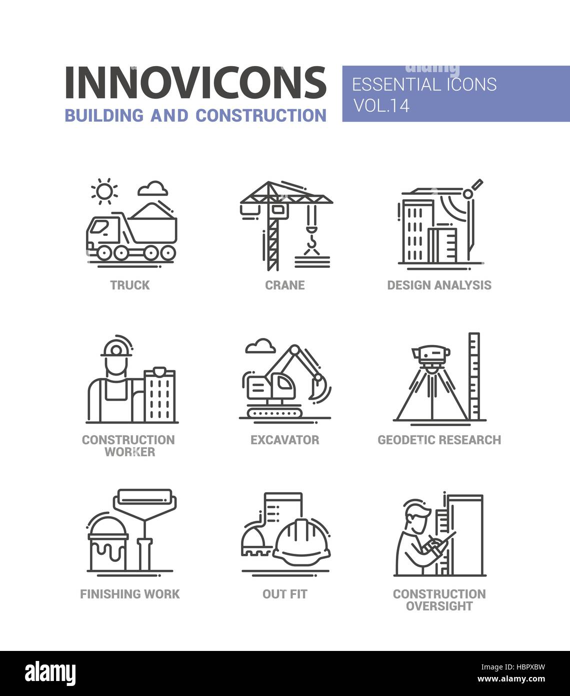 Building and construction line design icons Stock Vector