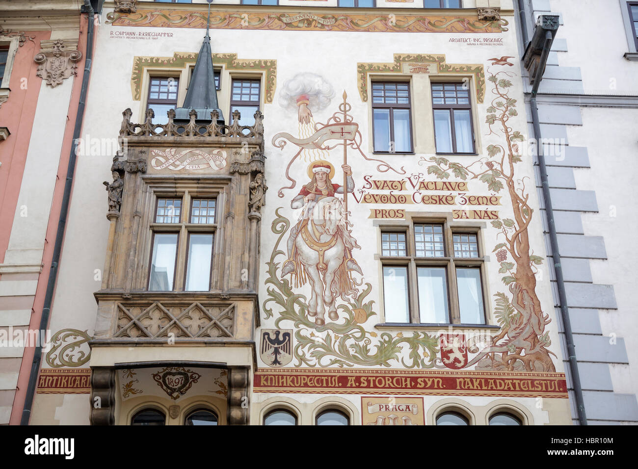 The Storch House on the Old Town Square with a design by Mikulas Ales showing St Wenceslas on horseback, Prague, - Stock Image