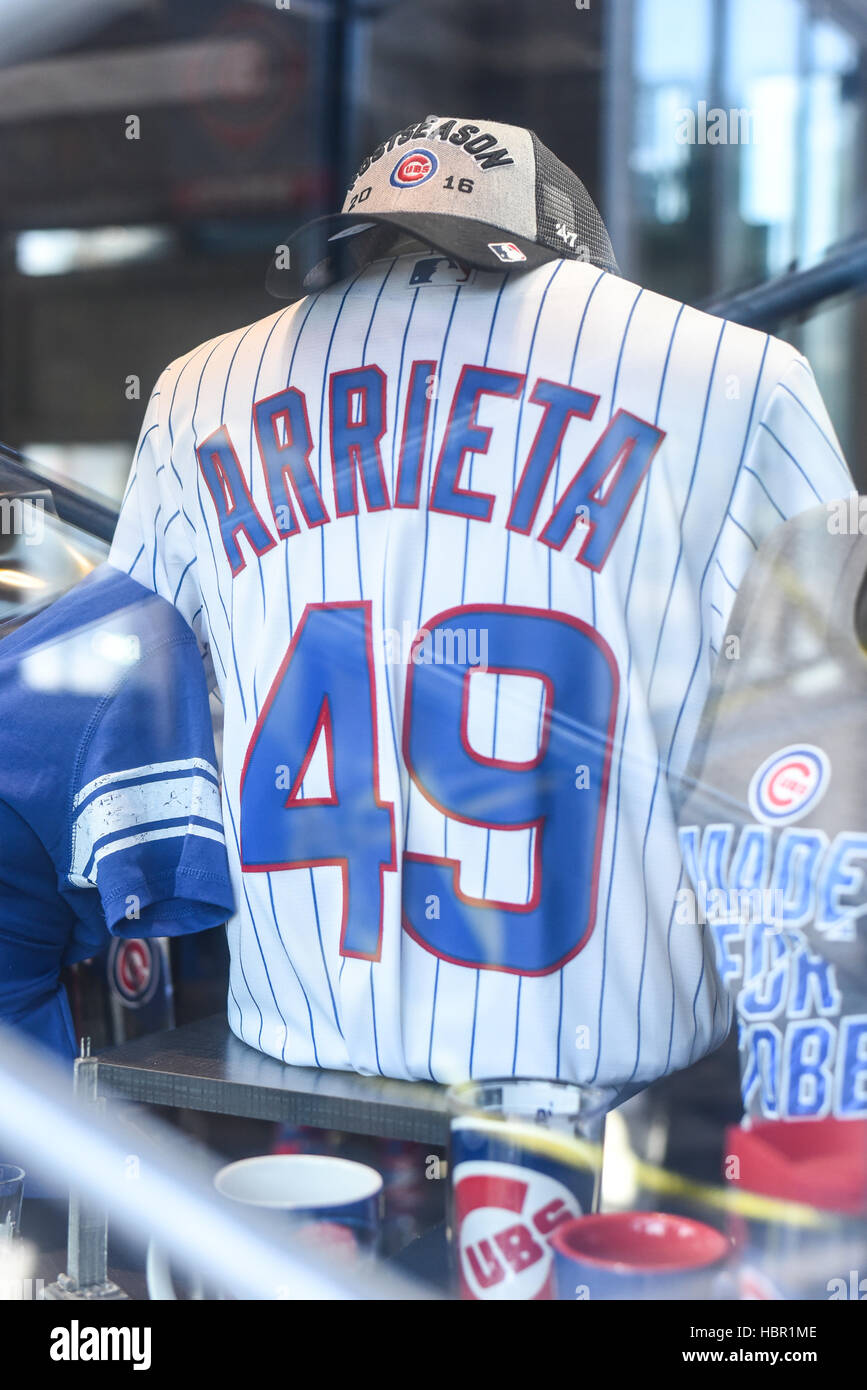 Chicago Cubs pitcher, Jake Arrieta, sports shirt in display in Chicago, Illinois. - Stock Image