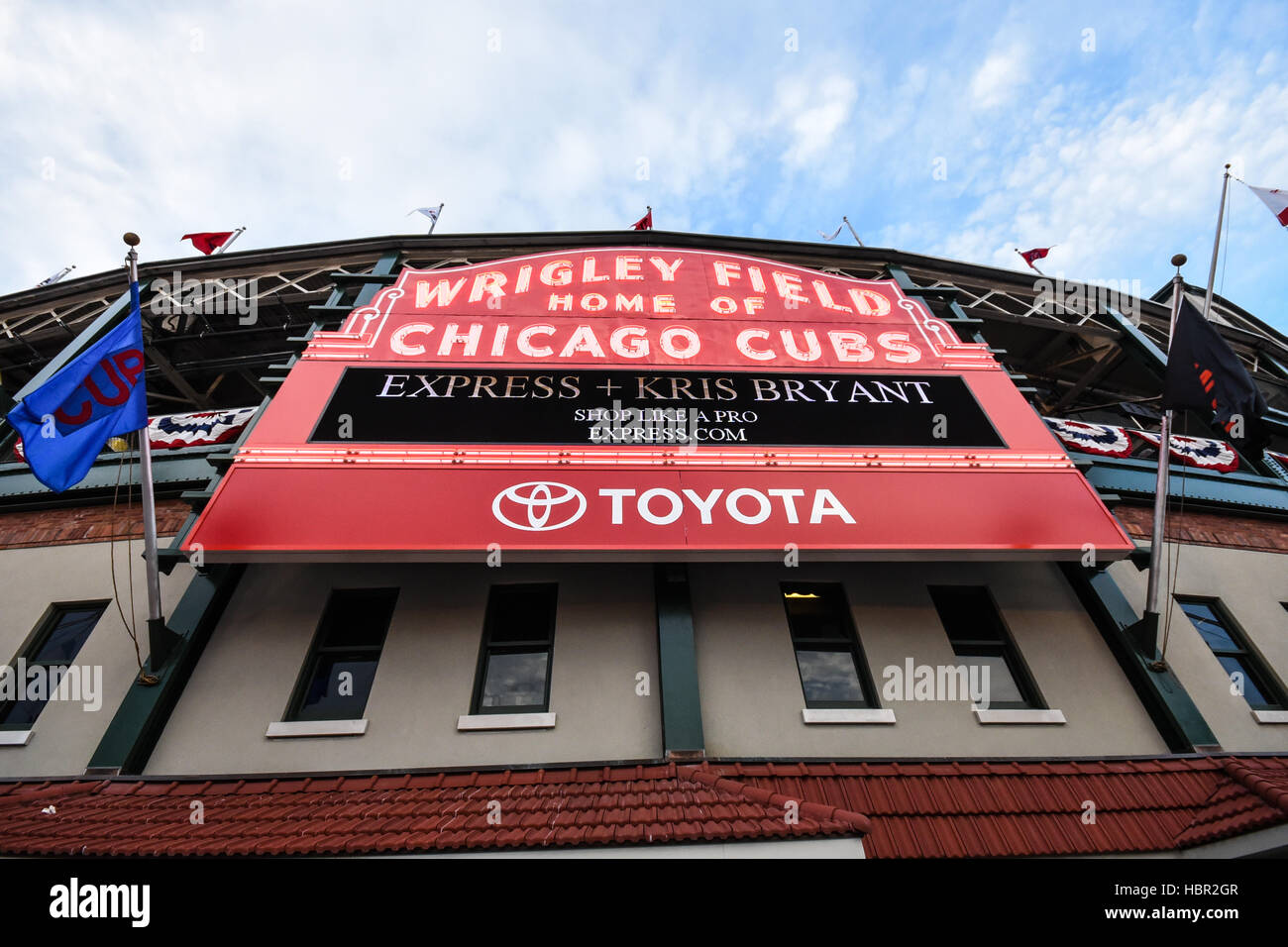 The legendary marquee of Wrigley Field. Wrigley Field is a baseball park located on the North Side of Chicago, Illinois. - Stock Image