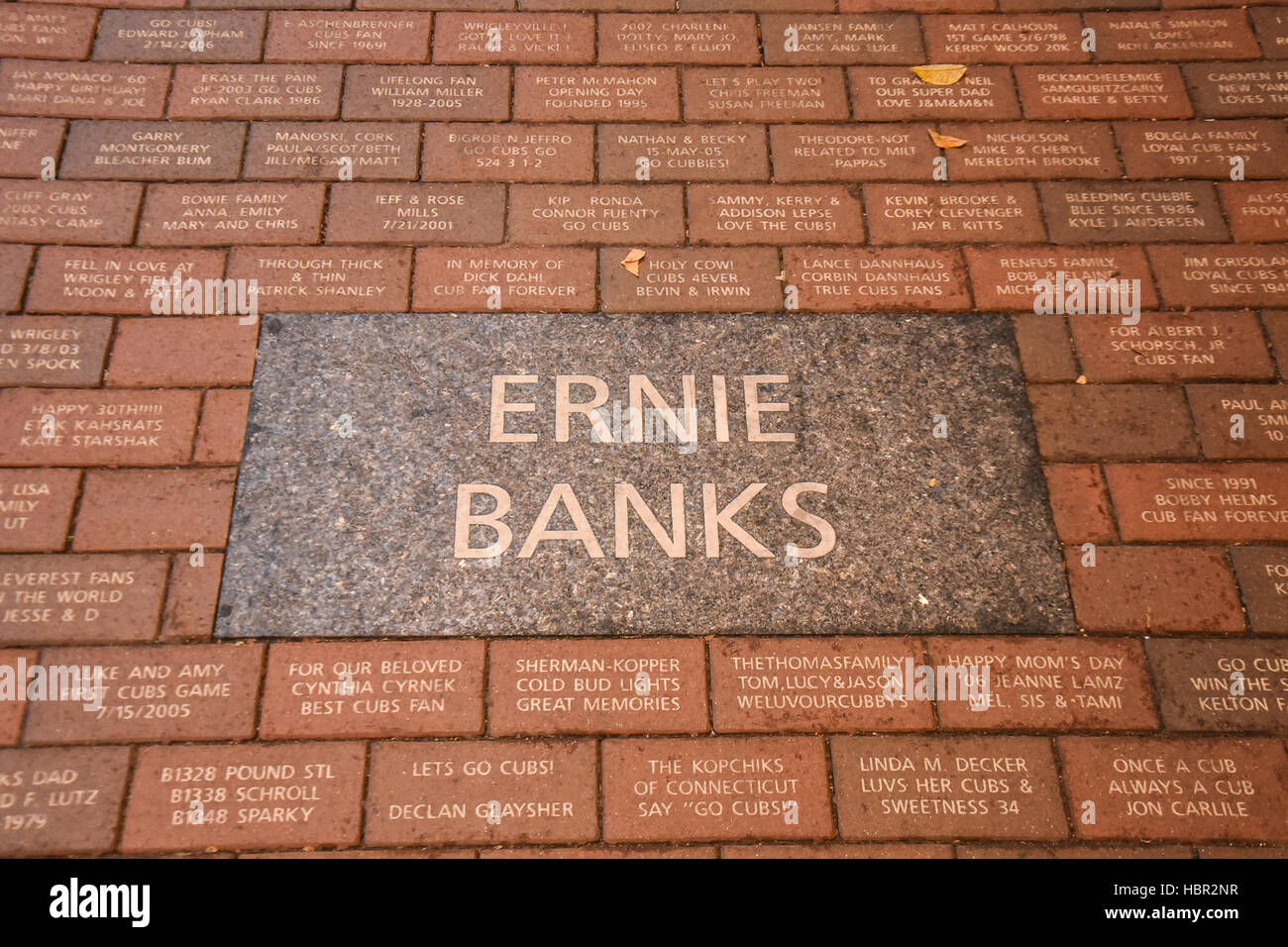 Ernie Banks sidewalk plaque. Wrigley Field is a baseball park located on the North Side of Chicago, Illinois. It - Stock Image