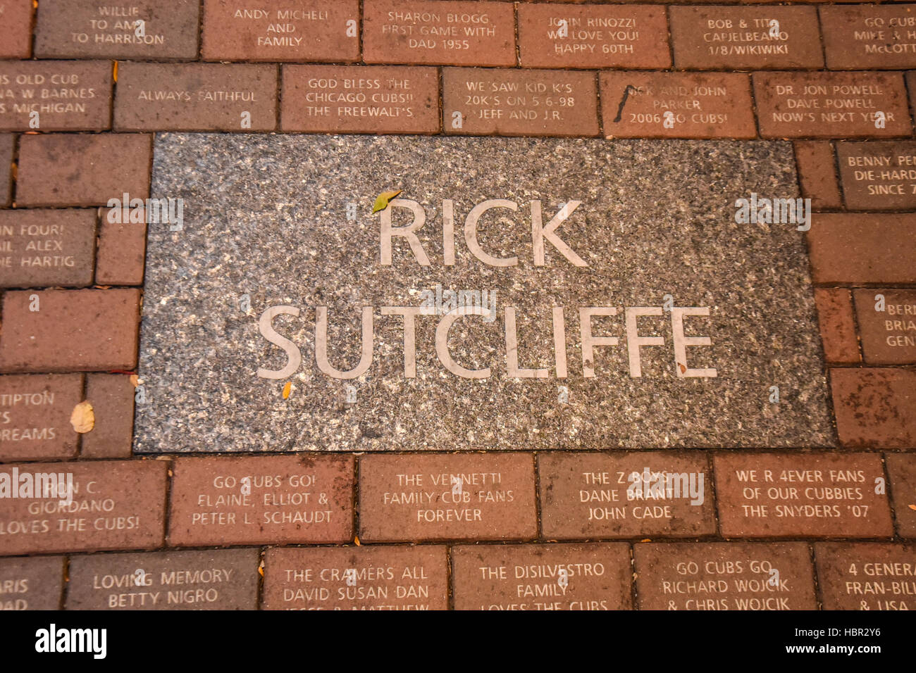 Rick Sutcliffe sidewalk plaque. Wrigley Field is a baseball park located on the North Side of Chicago, Illinois. - Stock Image