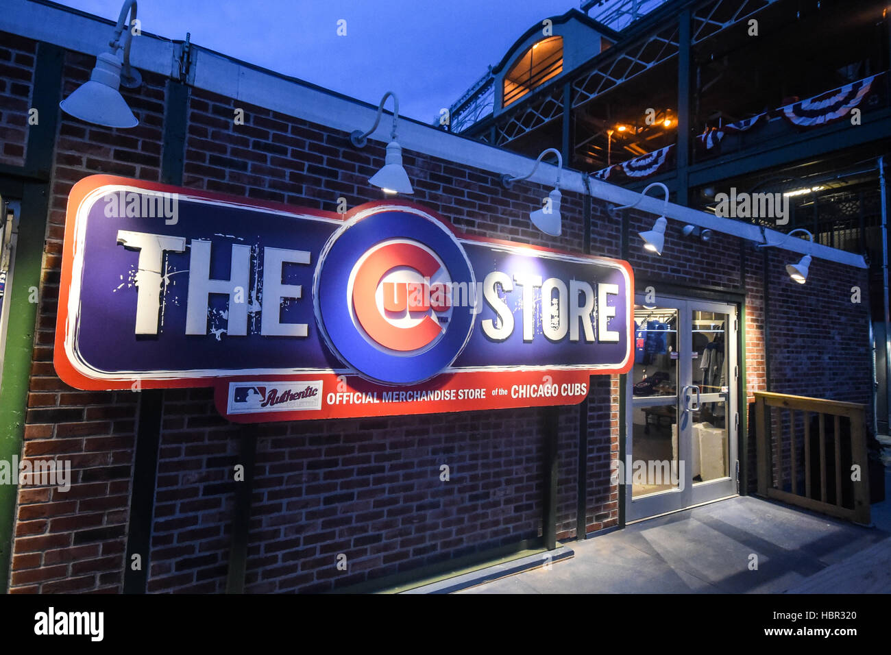 The Cubs Store. Wrigley Field is a baseball park located on the North Side of Chicago, Illinois. It is the home - Stock Image