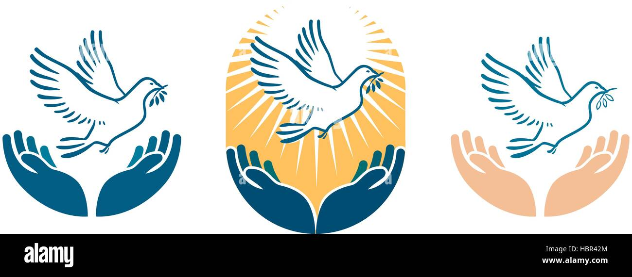 Dove Bird Carrying Olive Branch In Beak As A Peace Symbol Vector