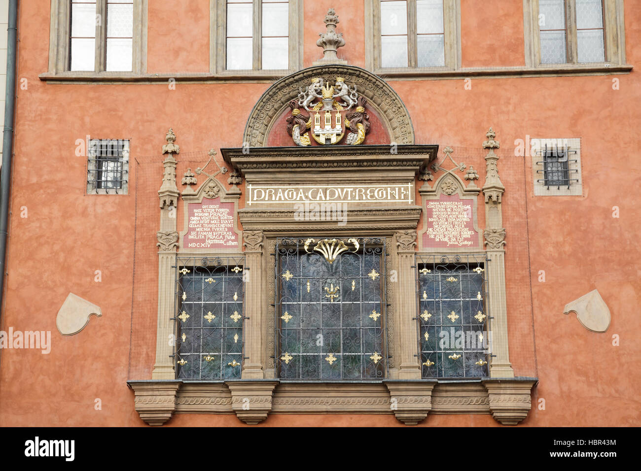 Old Town Coat of Arms on the Old Town Hall, Old Town Square, Prague, Czech Republic - Stock Image